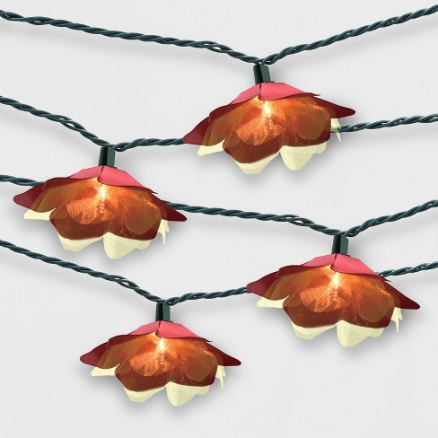 10ct Flower Outdoor String Lights Red - Opalhouse™ - image 1 of 2