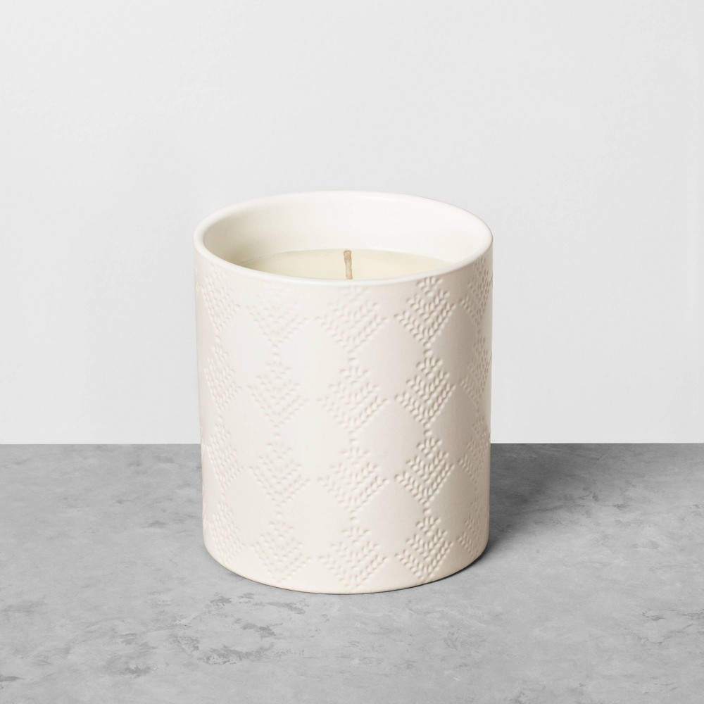 Image of 9oz Holiday Ceramic Jar Candle Cedar Magnolia - Hearth & Hand with Magnolia