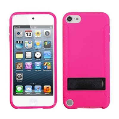 MYBAT For Apple iPod Touch 5th Gen/6th Gen Pink Black Hard TPU Case Cover w/stand