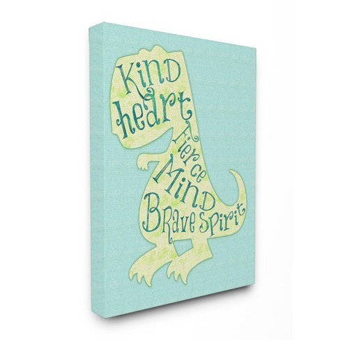 Kind Heart Dinosaur Silhouette Stretched Canvas Wall Art - Stupell ...