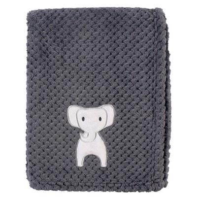 Hudson Baby Unisex Baby Plush Waffle Blanket - Modern Elephant One Size