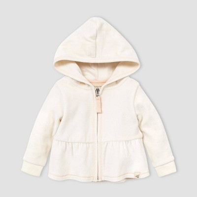 Burt's Bees Baby® Baby Girls' Organic Cotton Velour Peplum Hoodie - Off-White 3-6M