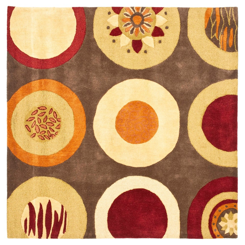 Brown/Multi Abstract Tufted Square Area Rug - (6'x6') - Safavieh