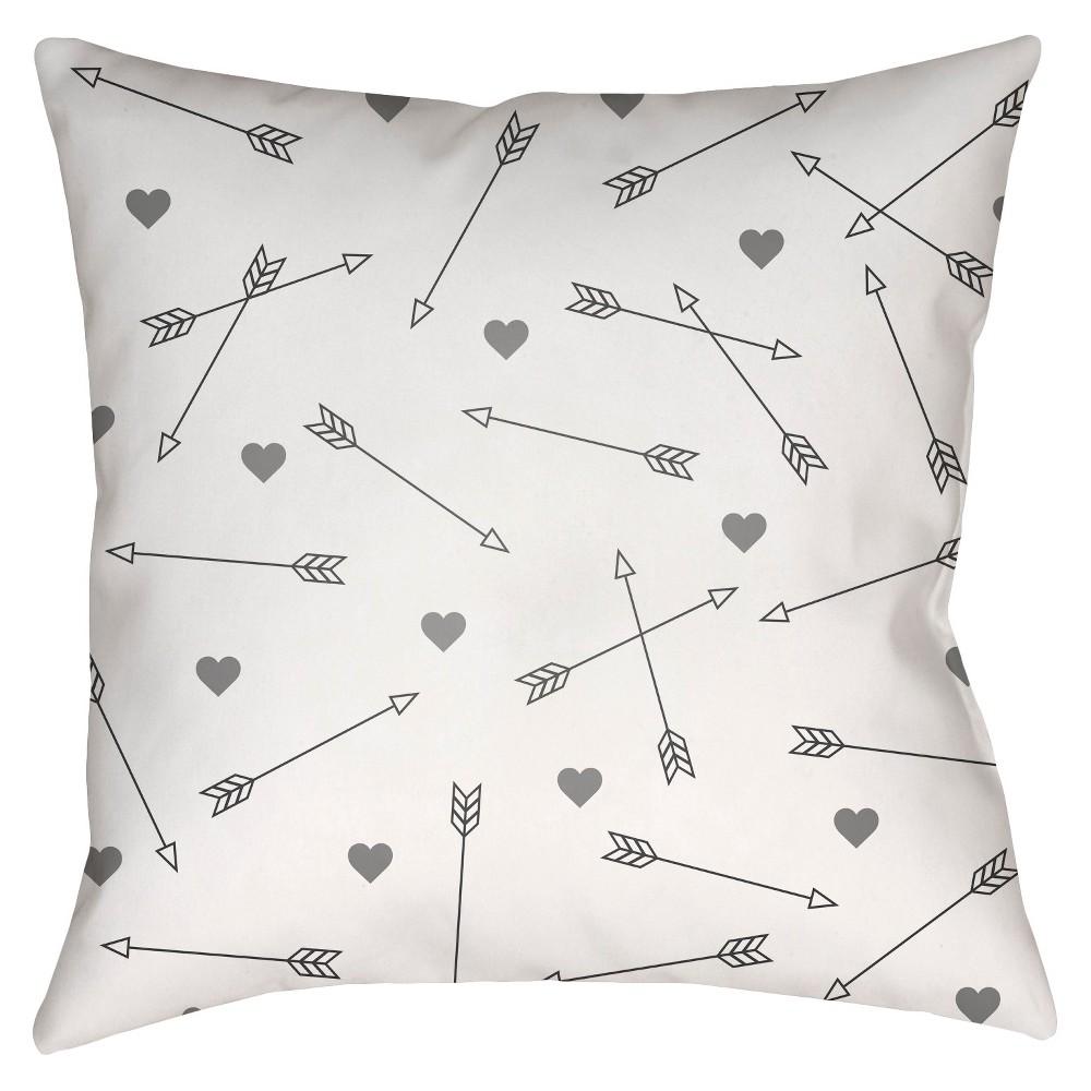 Gray Love Arrows Throw Pillow 20