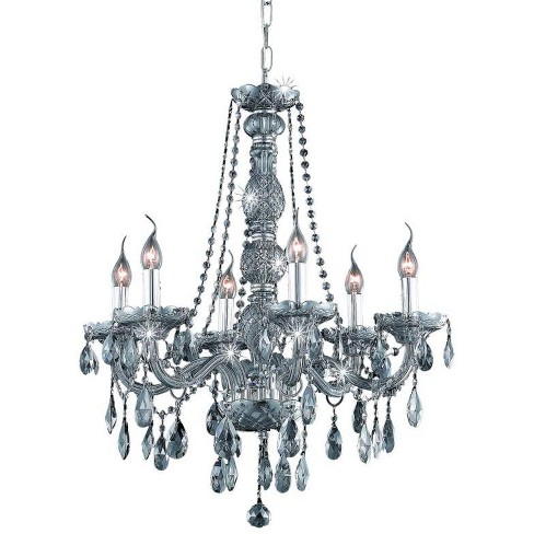 Elegant Lighting 7956D24SS-SS Verona 6-Light, Single-Tier Crystal Chandelier, Finished in Silver Shade - image 1 of 1
