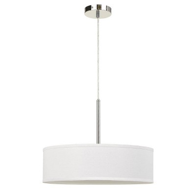 """18"""" x 18"""" x 14"""" LED Metal Dimmable Pendant with Diffuser and Hardback Fabric Shade Off-White - Cal Lighting"""