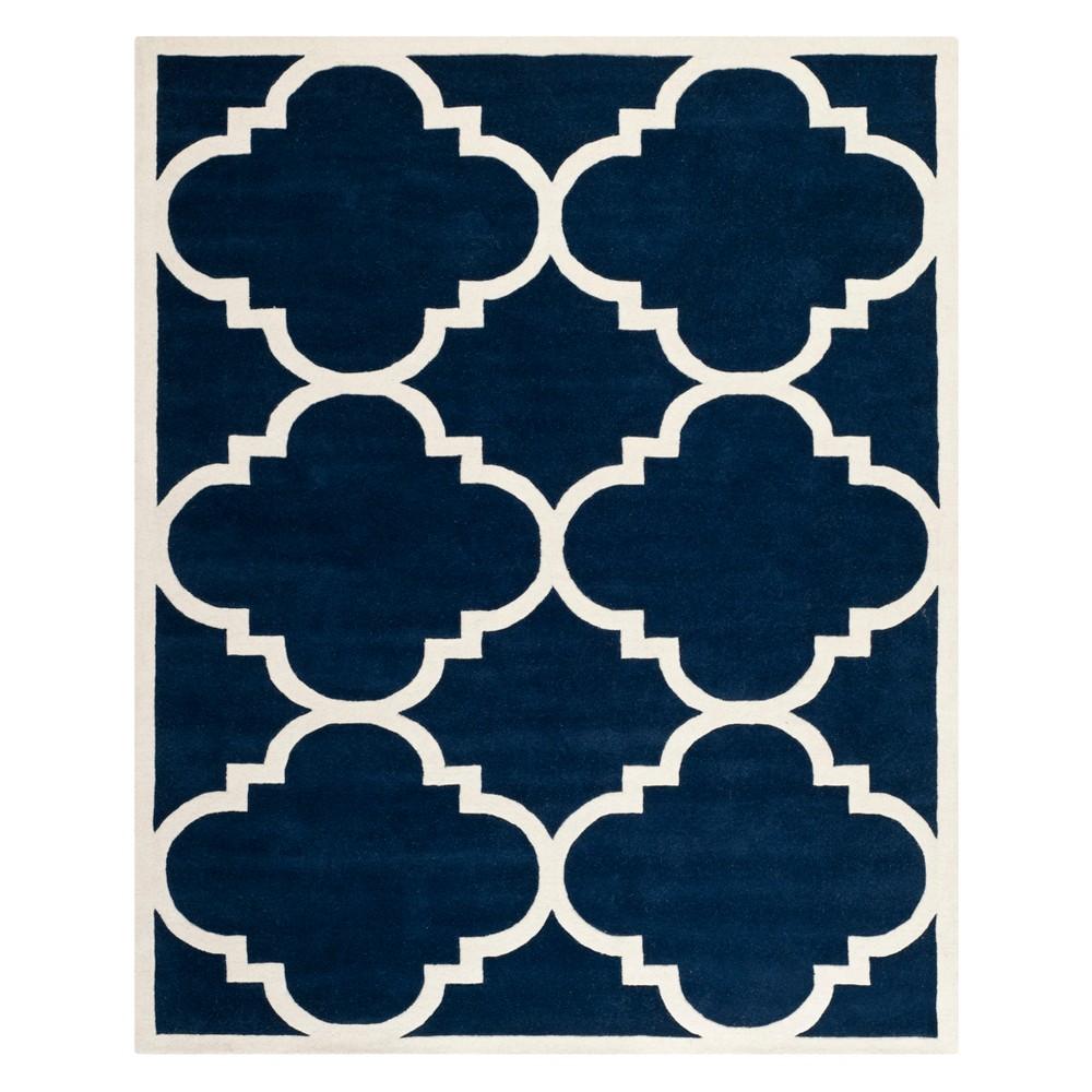 Quatrefoil Design Tufted Area Rug Dark Blue/Ivory