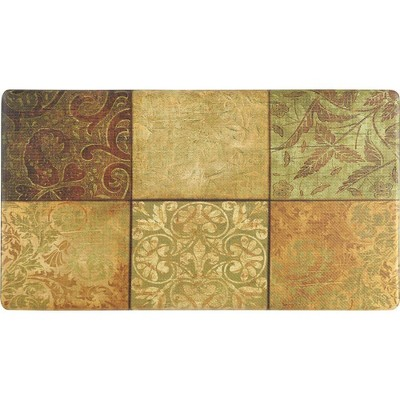 """Home Dynamix 19"""" x 35"""" Mosaic Kitchen Mat Beige/Green"""