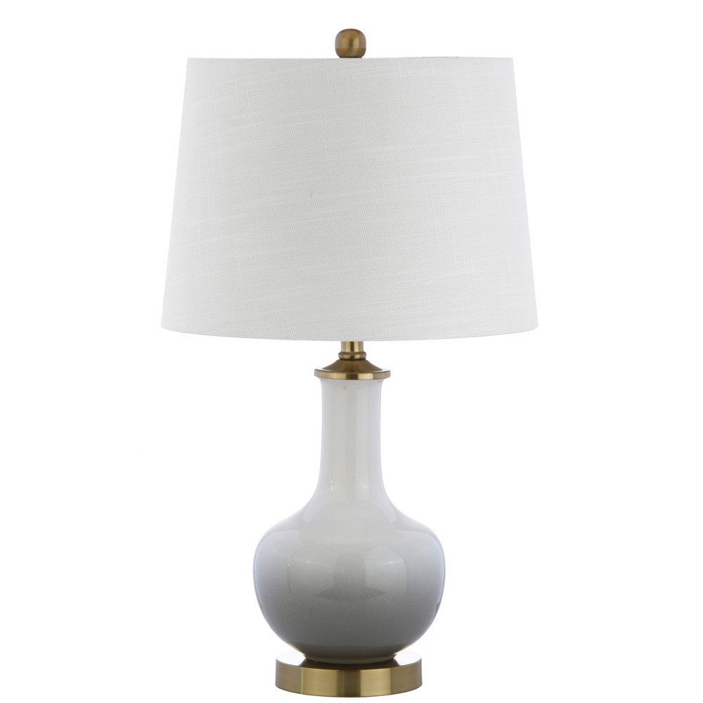 "Image of ""25"""" Gradient Ceramic/Brass LED Table Lamp White/Gray (Includes Energy Efficient Light Bulb) - JONATHAN Y"""