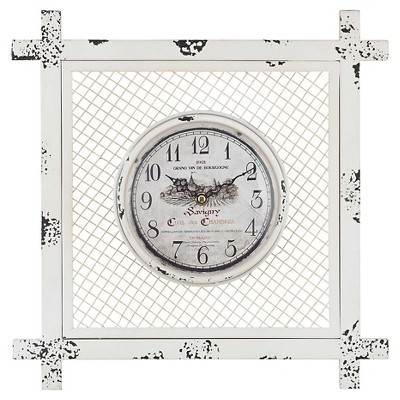 14  Square Wall Clock Distressed White - Lazy Susan®