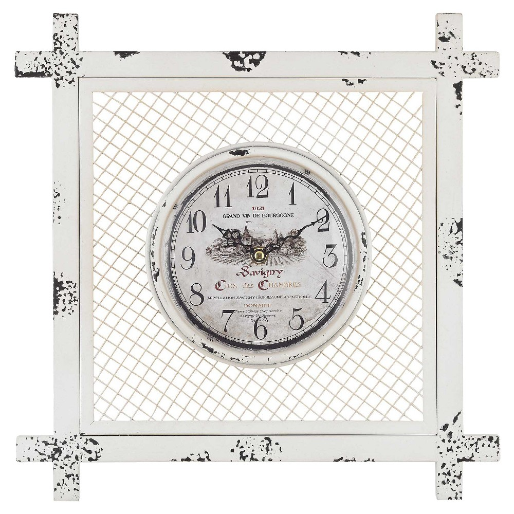 Image of 14 Square Wall Clock Distressed White - Lazy Susan