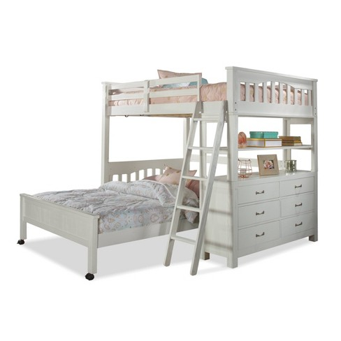 Full Highlands Loft Bed with Lower Bed White - Hillsdale Furniture - image 1 of 4
