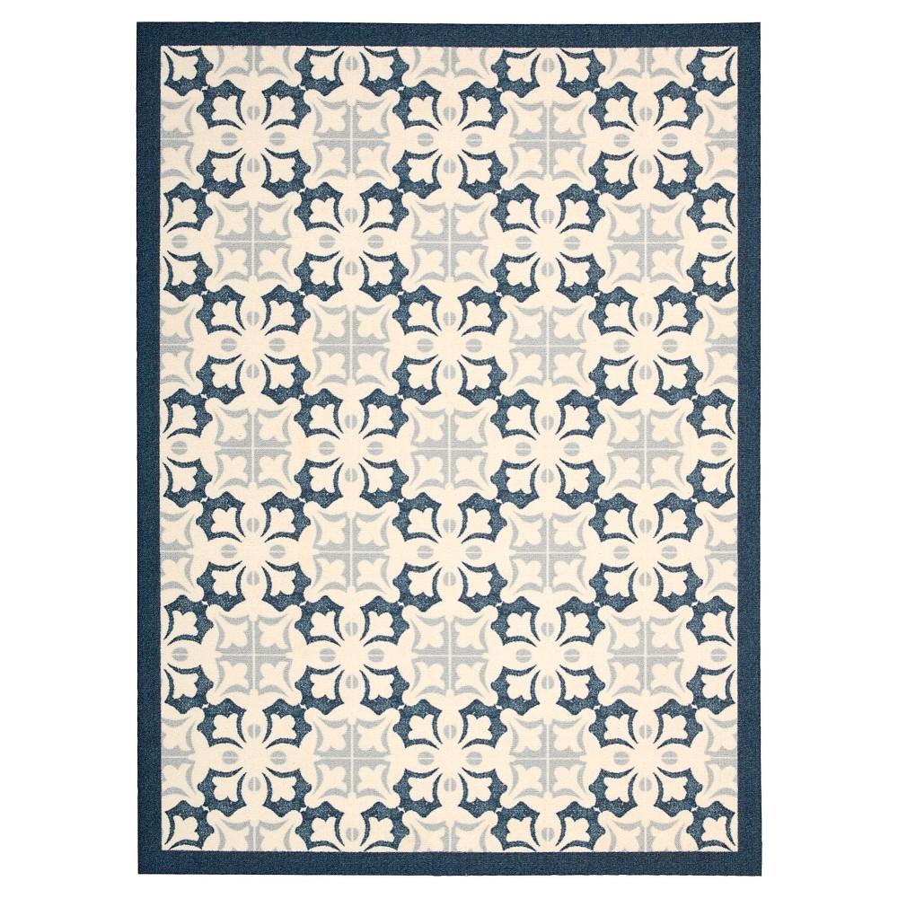 Image of Nourison Floral Enhance Area Rug - Blue (5'X7')
