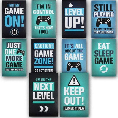 """Blue Panda Set of 10 Video Game Posters Inspirational Quotes Art Print Room Wall Decor 17""""x11"""""""