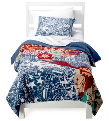 Rizzy Home Travel and Explore Comforter Set - Blue/Red/Orange (Twin)