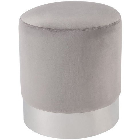Strange Jason Grey Velvet Round Ottoman Chrome Metal Base Upholstered In Gray Posh Living Caraccident5 Cool Chair Designs And Ideas Caraccident5Info