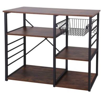 Wood and Metal Bakers Rack with 4 Shelves and Wire Basket Brown/Black - Benzara