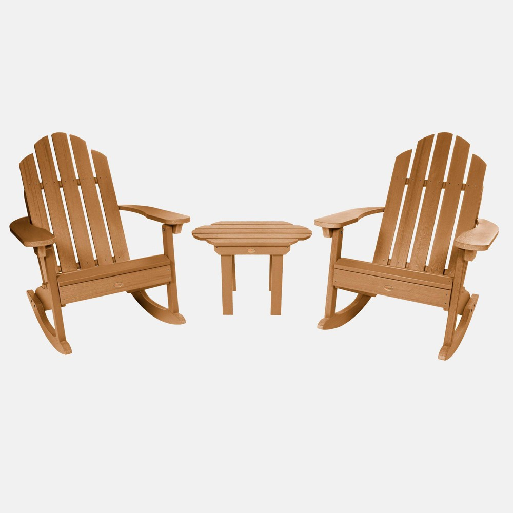 Image of 3pc Classic Westport Adirondack Rocking Chair Patio Set Toffee - highwood