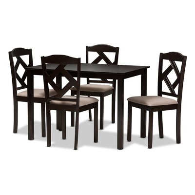 5pc Ruth Modern And Contemporary Fabric Upholstered And Finished Dining Set Dark Brown/ Beige - Baxton Studio