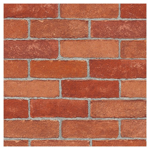 Devine Color Textured Brick Peel & Stick Wallpaper Red - image 1 of 4