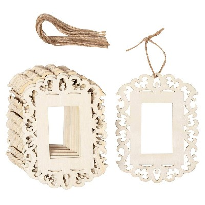 Genie Crafts 12 Pack Unfinished Wood Picture Frames Cutout with Jute Rope for 1.6 x 2.6 Photos, 4.3 x 5.8 In