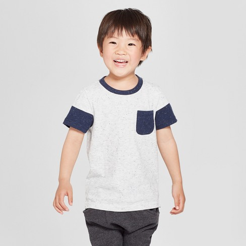 Toddler Boys' Pocket Short Sleeve T-Shirt - Cat & Jack™ Heather Gray 3T - image 1 of 3