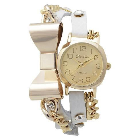 Women's Geneva Platinum Round Face Bow Accent Wrap Watch - White - image 1 of 3