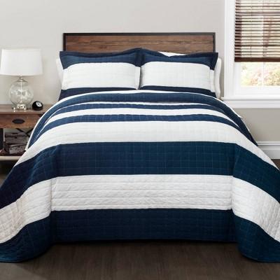 Stripe 3 Piece Quilt Set - Lush Décor