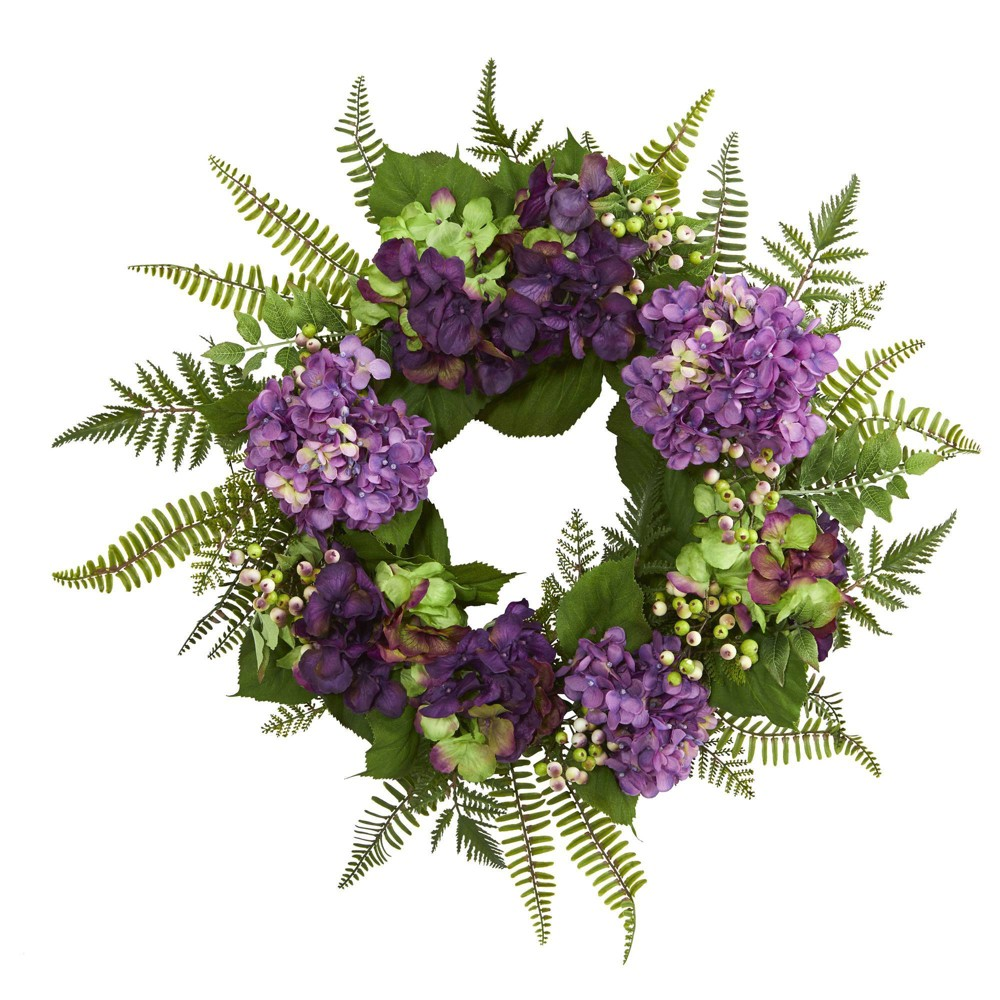 "Image of ""24"""" Artificial Hydrangea & Berry Wreath Purple/Green - Nearly Natural"""