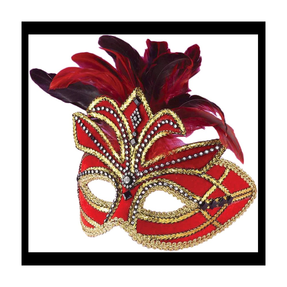 Venetian Mask With Feathers Red - One Size, Adult Unisex, Multi-Colored