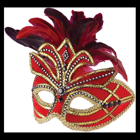 Venetian Mask With Feathers Red - One Size Fits Most - image 1 of 1