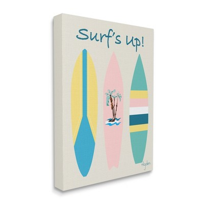 Stupell Industries Surf's Up Phrase Pastel Palm Tree Surfboard
