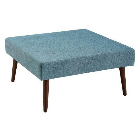 Charlotte Upholstered Coffee Table Ottoman Blue Linon