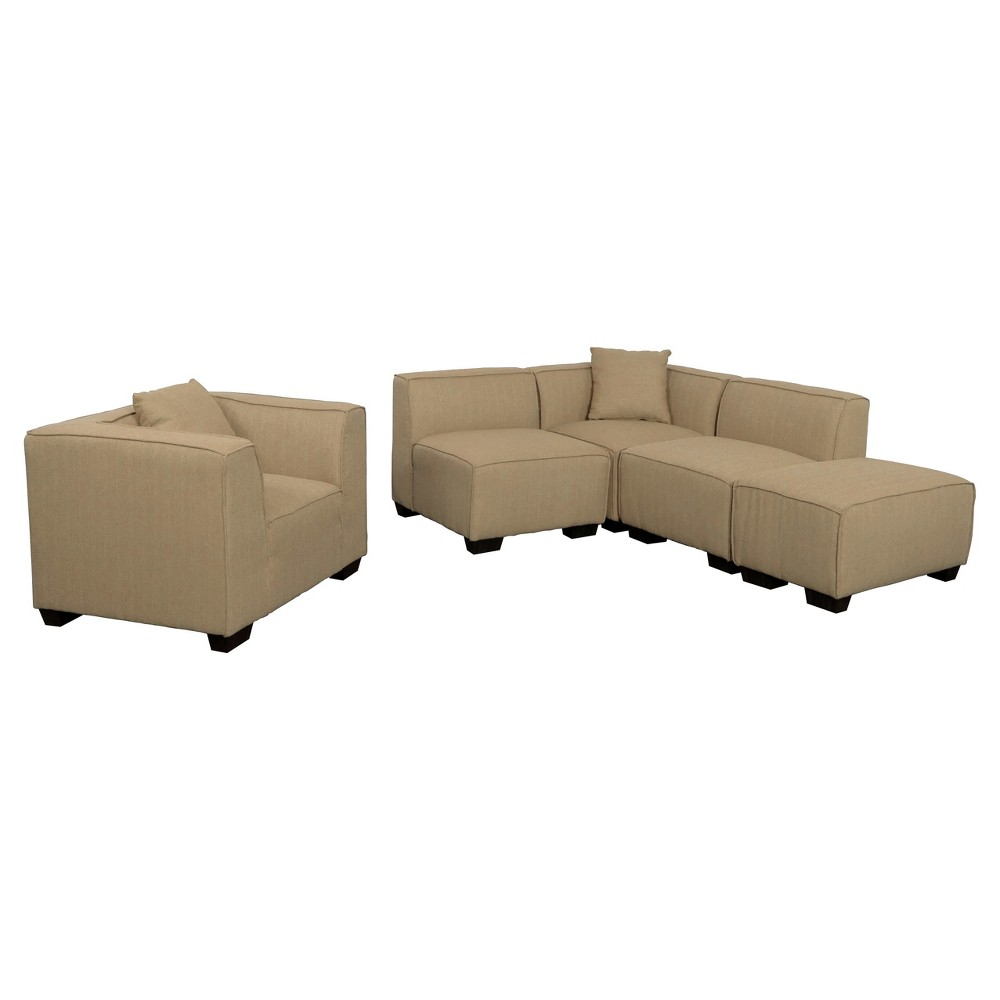 Lida 5 Piece Beige Sectional Chaise and Chair Set - Corliving