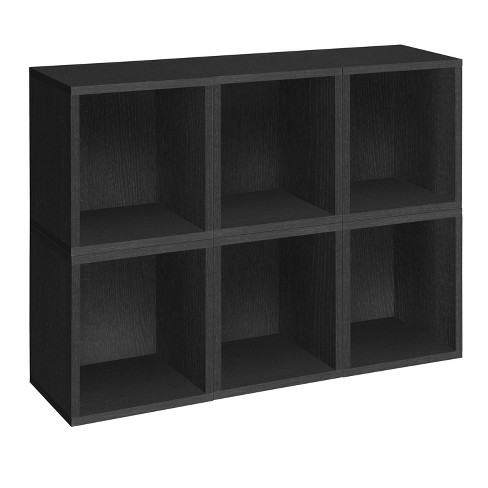 Way Basics 6-Cube Eco Stackable Tall Storage Cubby Organizer Black Wood Grain - image 1 of 4