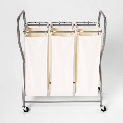 Rolling Triple Laundry Sorter - White - Threshold
