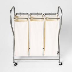 Rolling Triple Laundry Sorter - White - Threshold™
