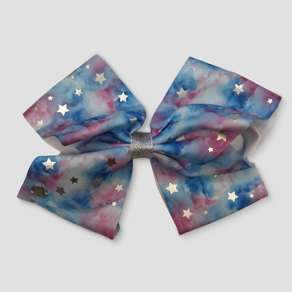 Girls' Nickelodeon JoJo Siwa Pastel Clouds with Silver Stars Bow Hair Clip, Multi-Colored