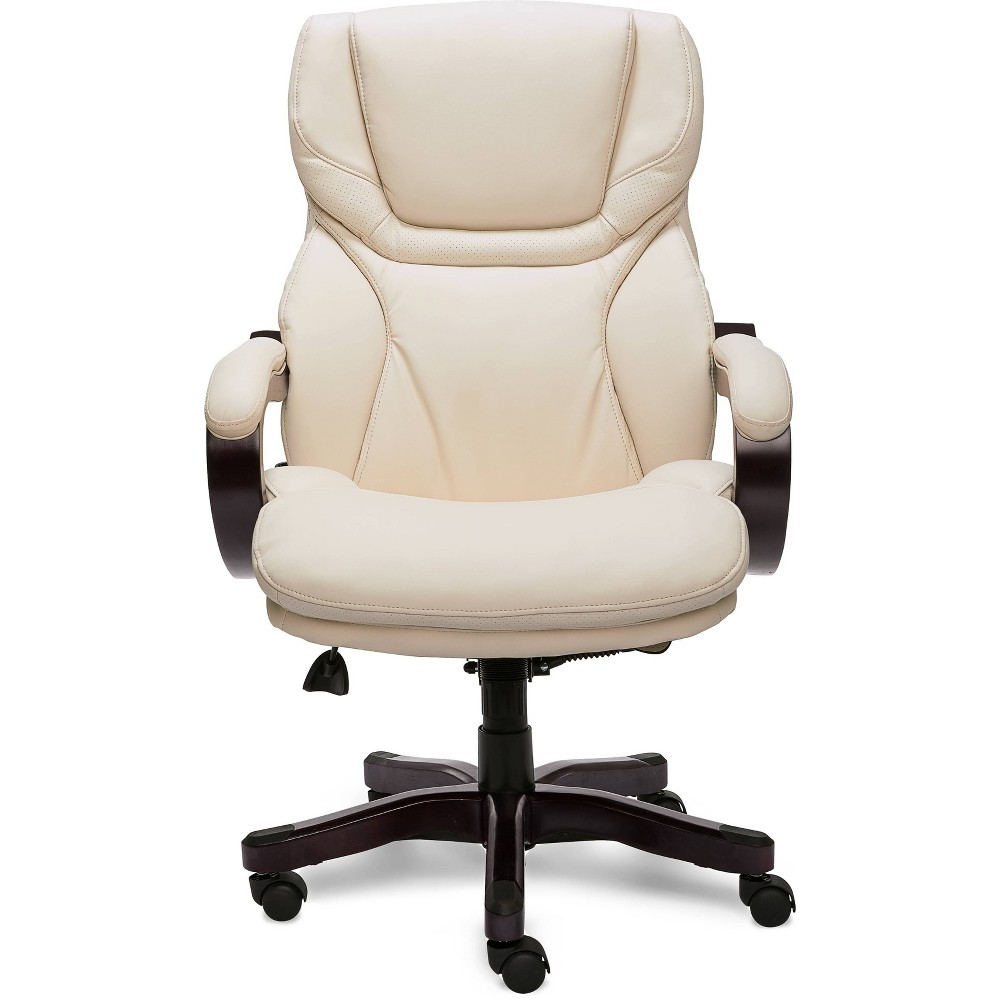Big and Tall Executive Office Chair with Upgraded Wood Accents Inspired Ivory - Serta