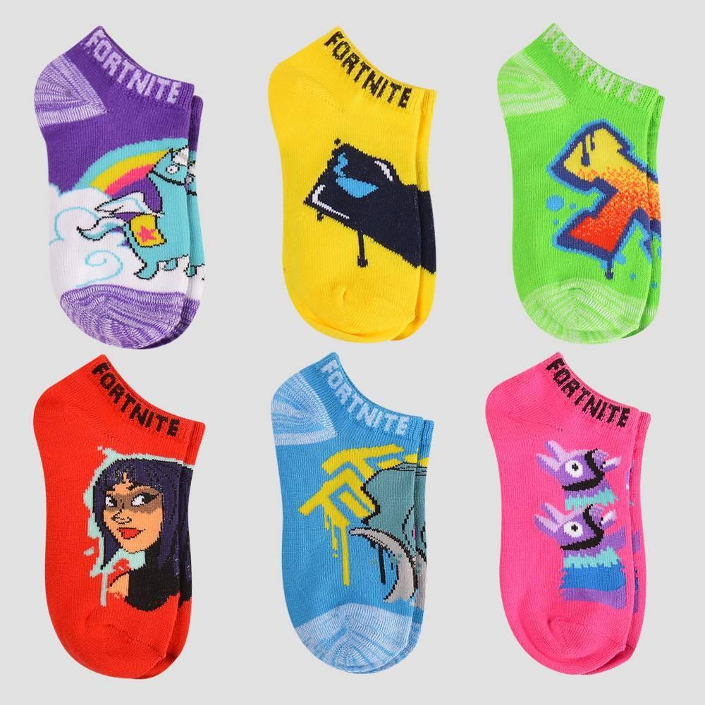 Image of Girls' Fortnite Cuddle Team Leader 6pk Socks - M/L, Girl's, Size: Medium/Large, Pink