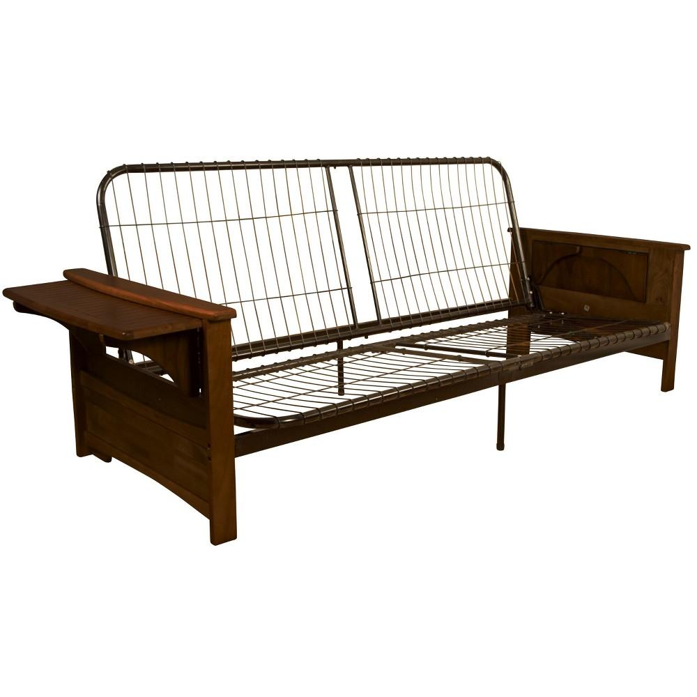 Brooklyn Futon Sofa Sleeper Bed Frame - Toasted Walnut Wood Arms - Queen Size - Sit N Sleep