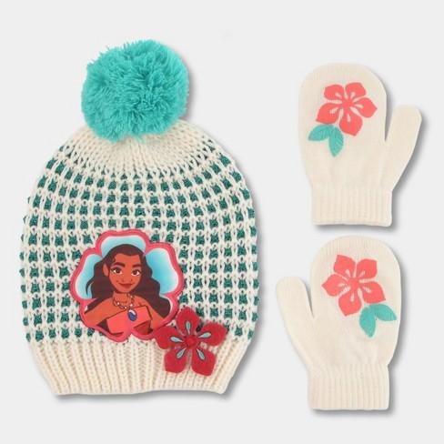 Toddler Girls  Disney Moana Hat And Mitten Set - White One Size   Target 471a1de39d6