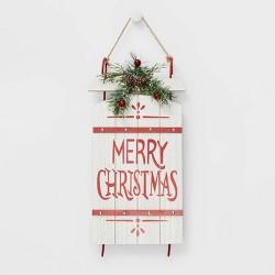 Wood Sleigh Merry Christmas Wall Sign White - Wondershop™