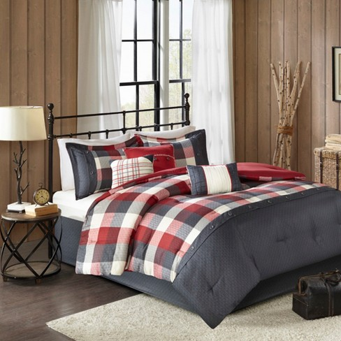 . Red 7pc Herringbone Comforter Bedding Set with Bedskirt and Decorative  Pillows   Warren