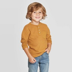 Toddler Boys' Doubleknit Long Sleeve Henley T-Shirt - Cat & Jack™ Brown