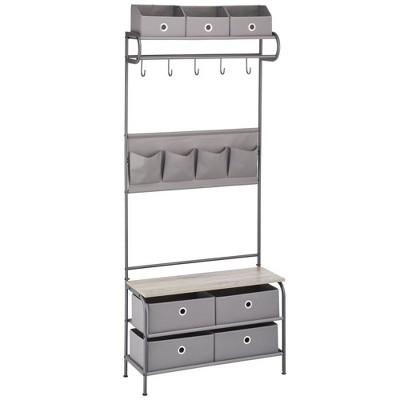 mDesign Coat Rack and Bench Storage Unit, Sturdy Steel Frame - Dark Gray/Gray