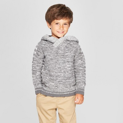 Toddler Boys' Sweater with Buffalo Check Hood - Cat & Jack™ Gray 18M