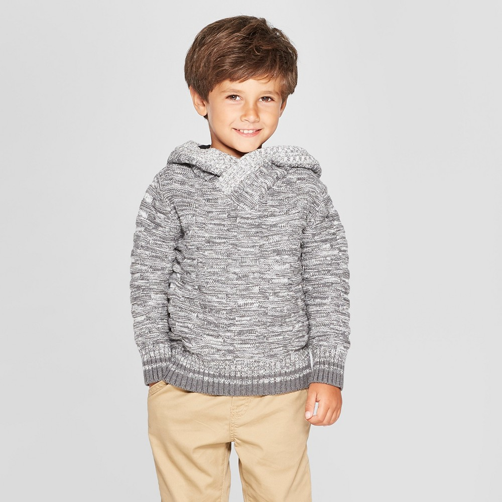 Toddler Boys' Sweater with Buffalo Check Hood - Cat & Jack Gray 2T