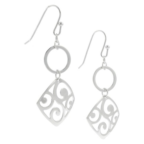 Women's Tressa Collection Sterling Silver Square Filigree Dangle Earrings - image 1 of 3