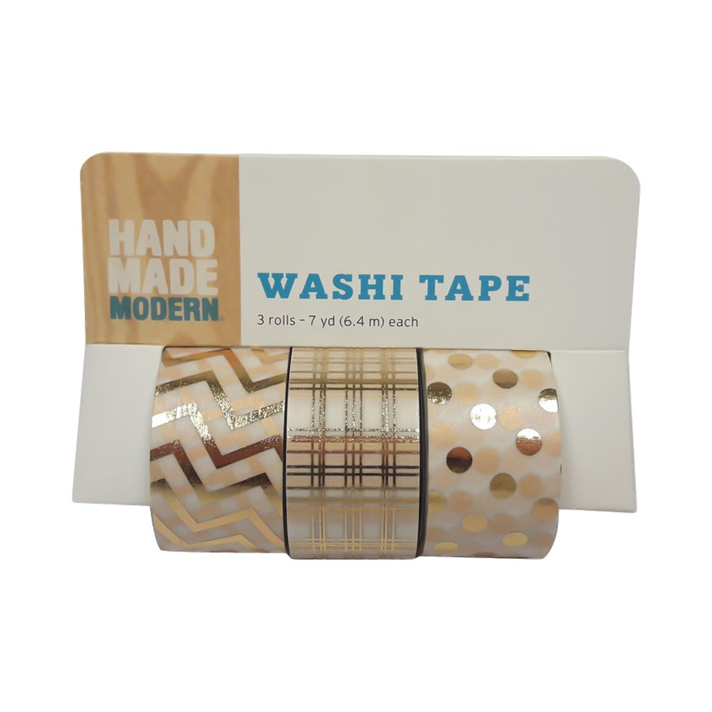 Hand Made Modern - Washi Tape, 3pk - Gold Patterned, Autumn Gold